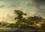 A Landscape with a Farm on the Bank of a River painting reproduction, Jan Wouwermans