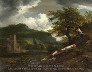 A Landscape with a Ruined Building painting reproduction, Jacob Van Ruisdael