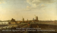 A Landscape with a View of Dordrecht painting reproduction, Willem Van Drielenburgh