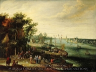 A Landscape with a Village on the Bank of a River painting reproduction, Jan Brueghel, The Elder