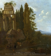 A Landscape with Classical Ruins painting reproduction, Frederick De Moucheron