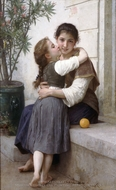 A Little Coaxing (Calinerie) painting reproduction, William Adolphe Bouguereau