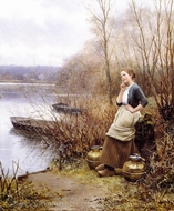 A Lovely Thought painting reproduction, Daniel Ridgway Knight