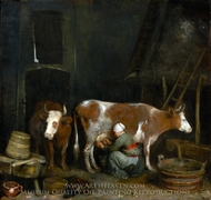 A Maid Milking a Cow in a Barn painting reproduction, Gerard Ter Borch