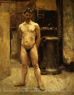 A Male Model Standing Before a Stove painting reproduction, John Singer Sargent