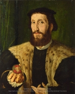 A Man Holding a Coloured Medal painting reproduction, Jan Cornelisz. Vermeyen