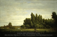 A Meadow Bordered by Trees painting reproduction, Theodore Rousseau