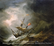 A Mediterranean Brigantine Drifting Onto a Rocky Coast in a Storm painting reproduction, Willem Van De Velde, The Younger