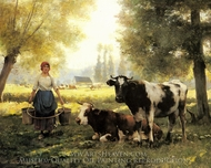 A Milkmaid with her Cows on a Summer Day painting reproduction, Julien Dupre