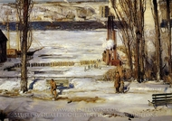 A Morning Snow, Hudson River painting reproduction, George Bellows