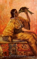 A Moroccan Beauty Holding A Parrot painting reproduction, Charlet Frantz