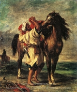 A Moroccan Saddling A Horse painting reproduction, Eugene Delacroix