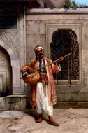 A Musician Playing Before A Mosque In Constantinople painting reproduction, Stanislaus Chlebowski