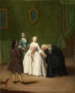 A Nobleman Kissing a Lady's Hand painting reproduction, Pietro Longhi
