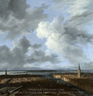 A Panoramic View of Amsterdam Looking Towards the Ij painting reproduction, Jacob Van Ruisdael
