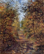 A Path in the Woods, Pontoise painting reproduction, Camille Pissarro