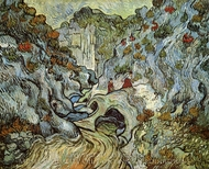 A Path through a Ravine painting reproduction, Vincent Van Gogh