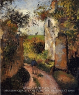 A Peasant in the Lane at l'Hermitage, Pontoise by Camille Pissarro