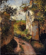 A Peasant in the Lane at l'Hermitage, Pontoise painting reproduction, Camille Pissarro