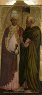 A Pope, Saint Gregory and Saint Matthias painting reproduction, Masolino