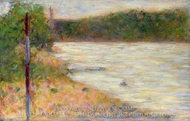 A River Bank (The Seine at Asniares) painting reproduction, Georges Seurat