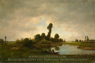 A River Landscape painting reproduction, Theodore Rousseau