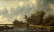A River Landscape with Fishermen painting reproduction, Salomon Van Ruysdael