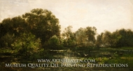A River Landscape with Storks painting reproduction, Charles Daubigny