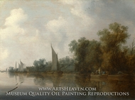 A River with Fishermen Drawing a Net by Salomon Van Ruysdael