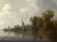 A River with Fishermen Drawing a Net painting reproduction, Salomon Van Ruysdael