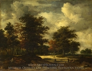 A Road Leading into a Wood painting reproduction, Jacob Van Ruisdael