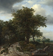 A Road Winding Between Trees Towards a Distant Cottage painting reproduction, Jacob Van Ruisdael