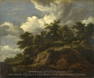 A Rocky Hill With Three Cottages a Stream at its Foot painting reproduction, Jacob Van Ruisdael