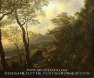 A Rocky Italian Landscape with Herdsmen and Muleteers by Jan Both