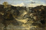 A Rocky Landscape painting reproduction, Theodore Rousseau