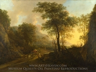 A Rocky Landscape with an Ox-cart painting reproduction, Jan Both