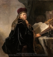 A Scholar Seated at a Desk painting reproduction, Rembrandt Van Rijn