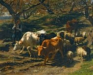 A Shepherd with His Flock painting reproduction, Rosa Bonheur