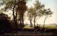 A Shepherdess and Her Flock on a Country Lane painting reproduction, Julius Jacobus Bakhuyzen