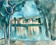 A Small Town by a Lake painting reproduction, Maurice De Vlaminck
