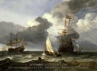 A Smalschip with Two Dutch East Indiamen Coming to Anchor painting reproduction, Hendrik Jacobsz Dubbels