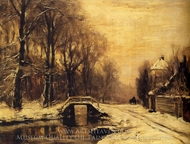 A Snow Covered Forest with a Bridge Across a Stream painting reproduction, Louis Apol