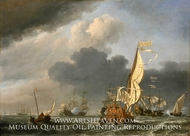 A States Yacht in a Fresh Breeze Running Towards a Group of Dutch Ships painting reproduction, Willem Van De Velde, The Younger