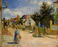 A Street in Pontoise painting reproduction, Camille Pissarro
