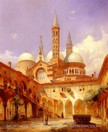A Street Scene Before A Mosque painting reproduction, Louis Frey