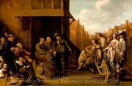 A Street Scene with Knife Grinder and Elegant Couple painting reproduction, Jacob Duck