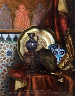 A Tambourine Knife Moroccan Tile and Plate On Satin Covered Table painting reproduction, Rudolph Ernst