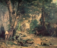 A Thicket of Deer at the Stream of Plaisir Fountaine painting reproduction, Gustave Courbet