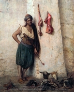 A Turkish Butcher Boy in Jerusalem painting reproduction, Jean-Leon Gerome