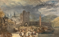 A View of Boppart, with Figures on the River Bank painting reproduction, Joseph Mallord William Turner